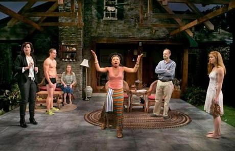 "Shalita Grant (center) and Billy Magnussen (second from left) in ""Vanya and Sonia and Masha and Spike.''"